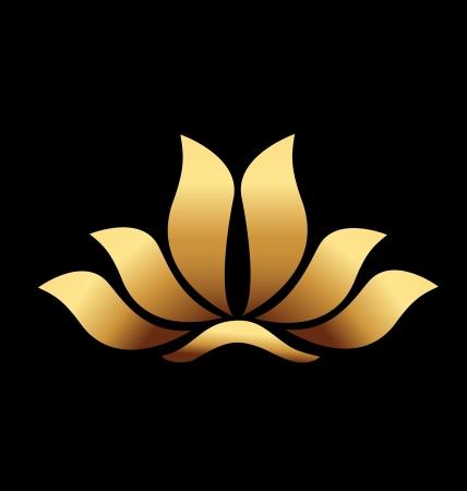 lotus flower: Vector of yoga gold lotus flower