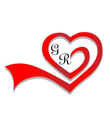 Wedding heart card invitation Illustration