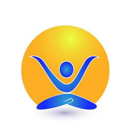 yoga: Yoga nature meditation icon vector  Illustration