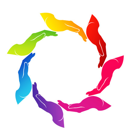 together voluntary: Vector of colored 7 hands around