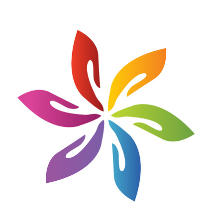 together voluntary: Hands teamwork flower icon vector