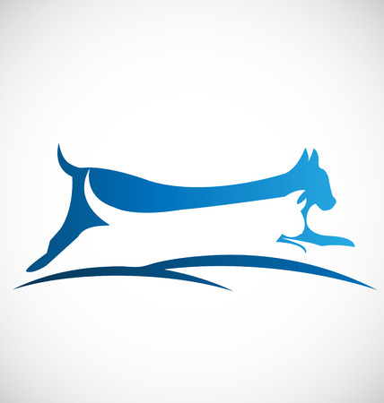 dog run: Vector of cat and dog icon design