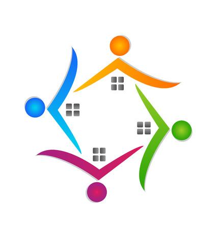 Houses teamwork around icon vector Stock Vector - 23199585