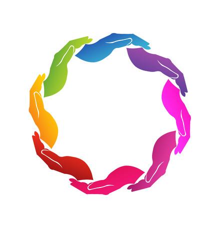 gönüllü: Etrafında renkli 8 ellerin vektör