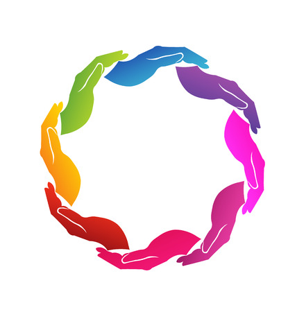 Vector of colored 8 hands around
