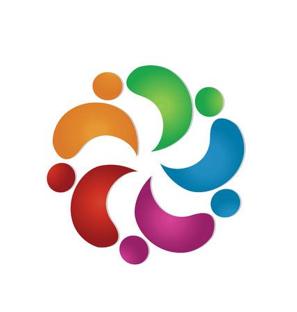 identidad cultural: Trabajo en equipo amistad 5 personas iconos vectoriales