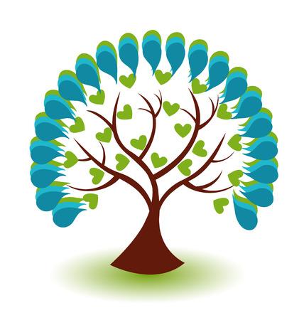 Vecteur icône bleu fond d'arbres Illustration