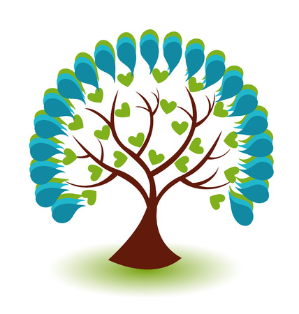 Vector of blue tree icon background Vector