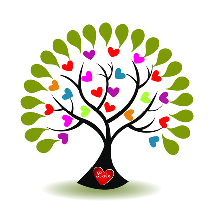 Tree of love icon vector