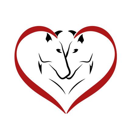 corazones de amor: Vector de caballos en icono del amor