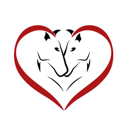 red heads: Vector of horses in love icon