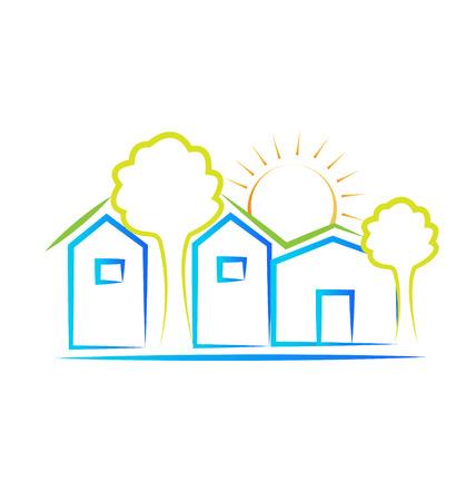주택 나무와 태양 아이콘 배경 벡터