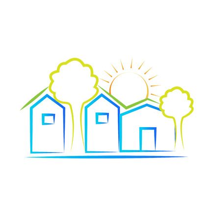 resorts: Houses tree and sun icon background vector
