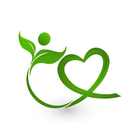 심장 모양의 아이콘 벡터와 건강한 잎 일러스트