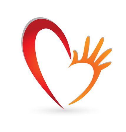 schlauch herz: Herz Hände Symbol Vektor Illustration
