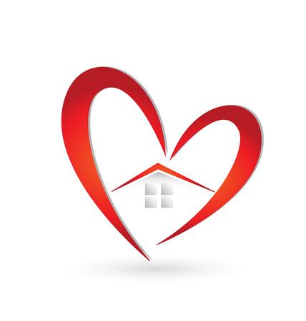 Huis en hart pictogram vector
