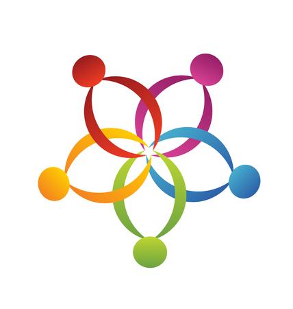 identidad cultural: Flor ayuda dise�o vectorial creativa Trabajo en equipo