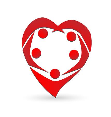 gönüllü: Kalp şekli ekip çalışması insanlar vektör