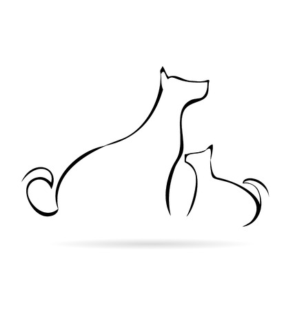 dog run: Vector of stylized cat and dog silhouettes Illustration