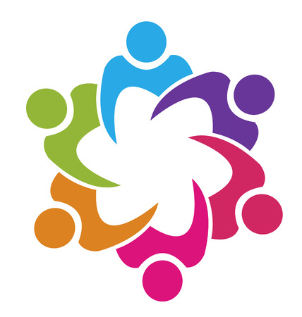 identify: Teamwork union 6 people icon vector Illustration