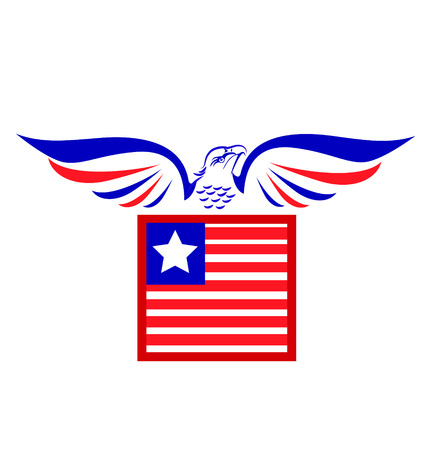 Vector of bald Eagle and flag icon vector Stock Vector - 24026800