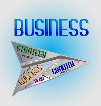Geschäftswörter in Papierflugzeug Symbol