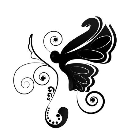 Vlindersilhouet icoon Stock Illustratie