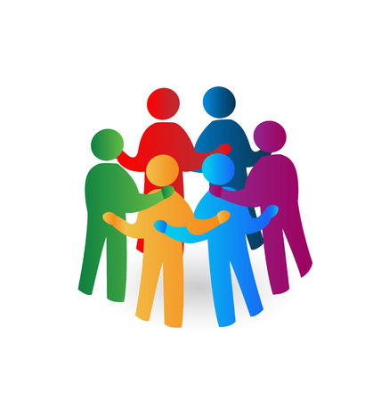 Teamwork meeting people icon vector