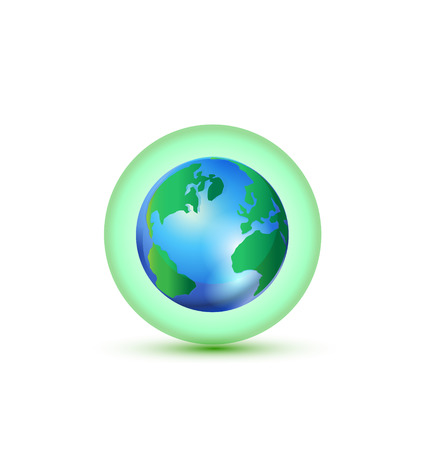 commerce: Green World Global Commerce bubble icon vector
