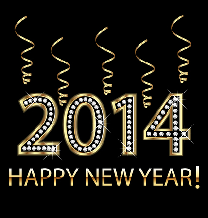 Happy new year 2014 in gold with ribbons vector design  Vector