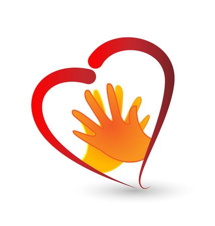 hand holding card: Handen en hart symbool vector Stock Illustratie