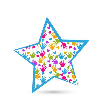 Manos de los niños en estrella Foto de archivo - 24807241