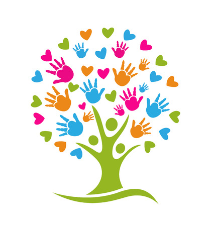 Tree with hands and hearts icon  Vector