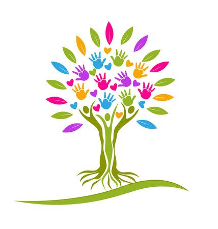 Árbol de personas de manos y corazones icono