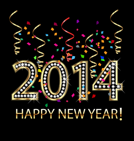 2014 Happy new year celebration with confetti vector Vector