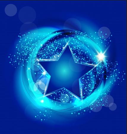 blue circle: Estrella en el cielo azul de dise�o vectorial
