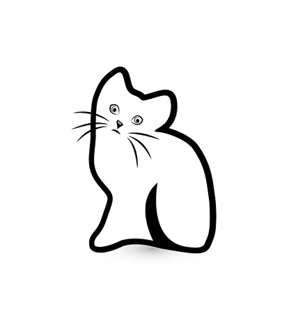 Shy cat vector icon silhouette