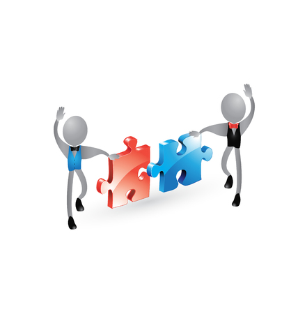 Business men connecting puzzles icon vector Vector