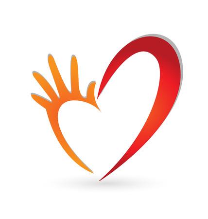 인간의 손에: 사랑 아이콘 디자인 표현 손 일러스트