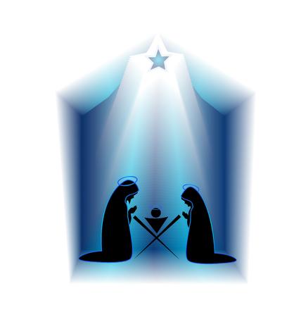 クリスマスのキリスト降誕のシーン  イラスト・ベクター素材