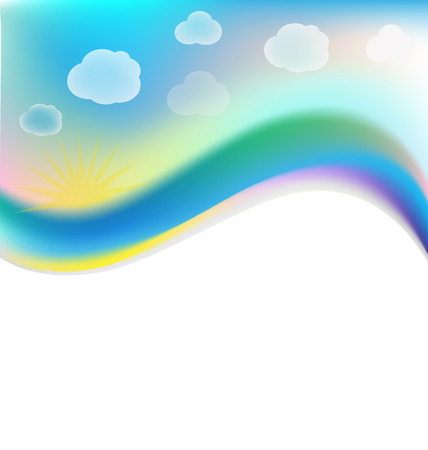 Vector of blue cloudy sky background design Vettoriali