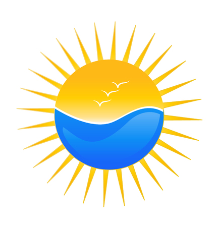 sun illustration: Beach and sun illustration icon Illustration