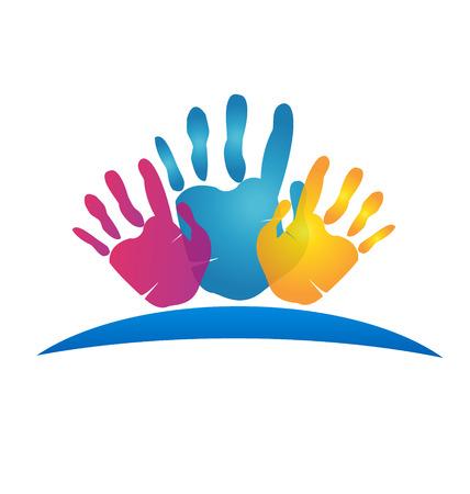 comunidades: Manos pintadas vector icon Vectores