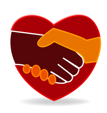 together voluntary: Heart handshake icon vector Illustration