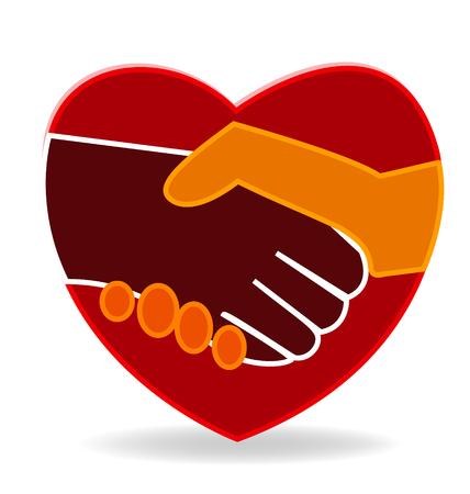 Heart handshake icon vector Vector