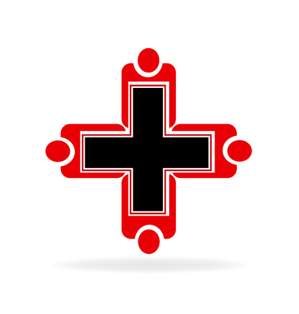 together voluntary: Medical teamwork vector icon