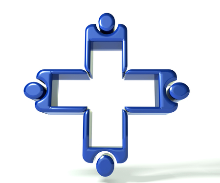 Blue Medical teamwork 3 D glossy image photo