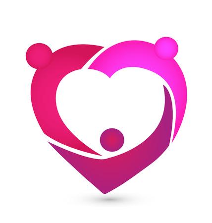 hearts background: Heart teamwork icon vector Illustration