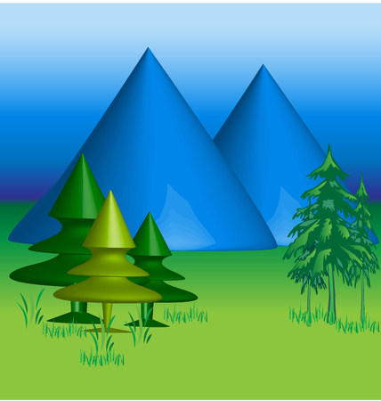 Blue Mountains 3 D vector background Vector