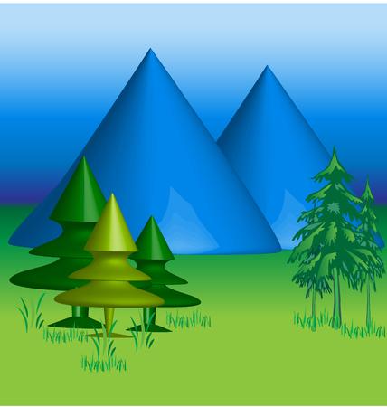 Blue Mountains 3 D vector background Vector